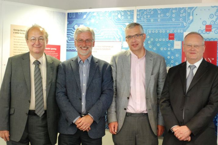 Prof A. Borovik,  Councillor of LMS; Univ. Librarian Ian Snowley;  Dr Mark Hocknull, Canon Chancellor of Lincoln Cathedral; Prof Scott Davidson, Deputy Vice-Chancellor