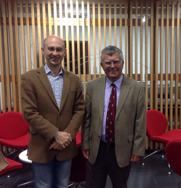 After the talk in Lincoln: Hugh Williams (right) and Andrei Zvelindovsky.