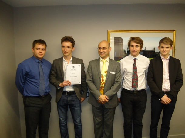 2nd Prize to (L-R): Matthew Lambert, Joseph Coupland, Darryl Smalley, Liam Coggan from the Lincoln Castle Academy