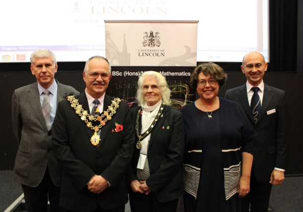 L-R: Dr Evgeny Khukhro, City Sheriff of Lincoln Mr Graham Kent and Sheriff's Lady Mrs Gillian Kent, Deputy Vice Chancellor Prof Susan Rigby and Head of School of Maths and Physics Professor Andrei Zvelindovsky