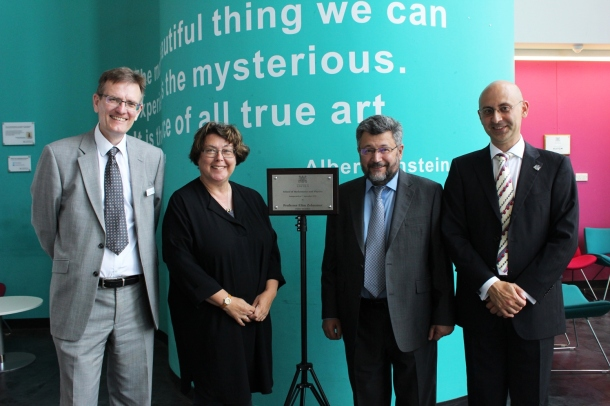 R-L: Prof Andrei Zvelindovsky, Head of the School, Prof Efim Zelmanov, DVCs Profs Sue Rigby and Andrew Hunter