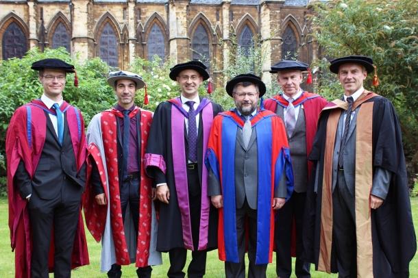 Graduation ceremony of 5th of September 2016. R-L: Sandro Mattarei, Evgeny Khukhro, Efim Zelmanov, Andrei Zvelindovsky, Marco Pinna, Martin Greenall.