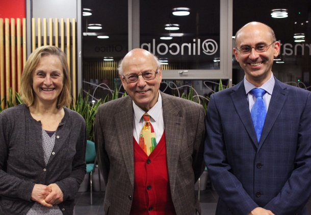 After the lecture. L-R:  Dr Libby John, Head of School of Life Sciences, and from 1st january 2016 - Head of the College of Science, Dr Peter Neumann and Professor Andrei Zvelindovsky, Head of the School of mathematics and Physics