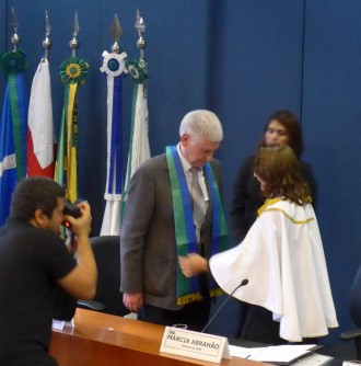 Evgeny Khukhro are adorned with the academic stole of University of Brasilia