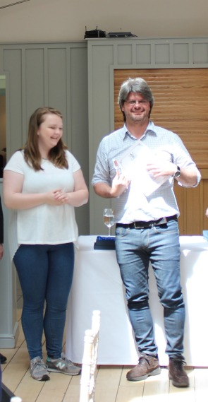 Andrea (right) receives a star.