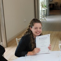 Felicity Levett after the award