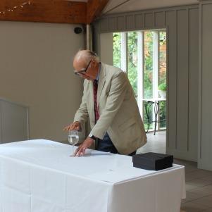 Mr Jarvis demonstrating one of Edward Delaval talents - singing glasses