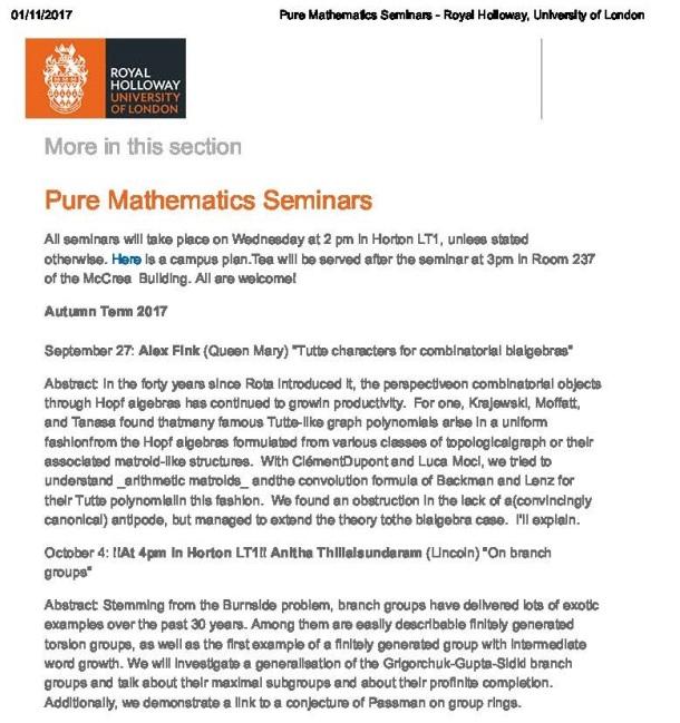 Pure Mathematics Seminars - Royal Holloway, University of London